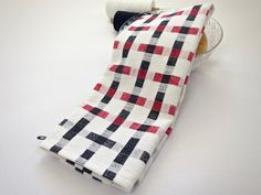 Black and White and Red Cotton Linen Towel - Handwoven Virtuoso - Designer Kitchen - Table Runner - Bread Cloth
