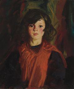 Мэри Энн (Mollie) (1926).  Роберт Генри (American 1865-1929).  Масло на холсте.  В портретах, таких как Мэри Энн (Mollie), Анри деликатно балансирует юную невиновность сиделки с острым осознанием.  распахнула взгляд Мэри Энн сталкивает зрителя ...