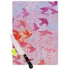 "Marianna Tankelevich ""Bird's Dream"" Lavendar Pink Cutting Board"
