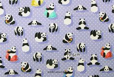 Panda fabric Panda pattern 44x35 100% Cotton 20s DTP by KoreaBacol