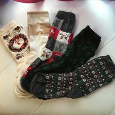 Bundle of Holiday Socks Bundle of Holiday Socks. All are cotton/mixed synthetic material blends except for the 2nd pair (white with reindeer is cashmere). Lightly worn; great condition. Great for showing your Christmas cheer! Two pairs are from Liz Claiborne, and I don't remember where the other 3 are from. Price is for all 5 pairs, but if you don't want all 5, it's $3/pair. Accessories Hosiery & Socks