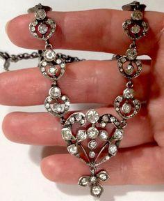 AUTHENTIC 1800s GEORGIAN STERLIND silver DIAMOND PASTE NECKLACE