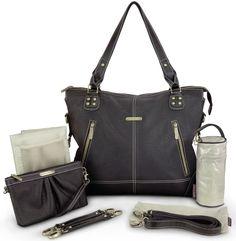 f74e8d631917 Timi   Leslie Baby Diaper Bag Kate Faux Leather 7 Piece Black Edition Black Diaper  Bag