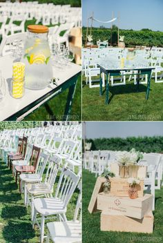 Outdoor wedding - lemonade and yellow straws - antique ceremony chairs Olive Photography | www.olivephotography.ca | Toronto & GTA wedding photographer