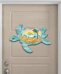 Take a look at this Sea Turtle Scenic Wood Outdoor Wall Décor today! White Wall Decor, Beach Crafts, Outdoor Walls, Outdoor Decor, Yard Art, Coastal Decor, Dinosaur Stuffed Animal, Wall Décor, Hand Painted