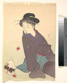 Woman with a Cat Kikuchi Keigetsu (Japanese, 1879–1955) Period: Meiji period (1868–1912) Date: ca. 1910 Culture: Japan Met museum...wood block print