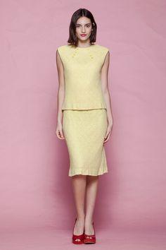 88225fff1904 eyelet crochet knit dress 2-piece sleeveless pale yellow vintage 60s MEDIUM  M Vintage Clothing