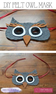 DIY Owl Mask Sweet and simple Halloween costume! Make this DIY owl mask for an adorable and simple costume this Halloween! Owl Costume Kids, Owl Halloween Costumes, Bird Costume, Halloween Kids, Halloween Crafts, Owl Costumes, Zombie Costumes, Halloween Couples, Holiday Costumes