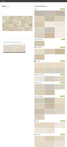 Cove. Wall. Type. Americanolean. Behr. Benjamin Moore. PPG Pittsburgh. Dutch Boy. Ralph Lauren Paint. Valspar Paint. Sherwin Williams. Olympic. PPG Paints.  Click the gray Visit button to see the matching paint names.