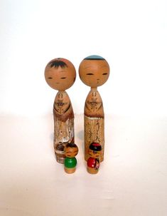 Vintage Kokeshi Dolls Set of Four Includes 2 Bobble Heads Family of Japanese Asian Miniature Wooden Hand Painted Doll Instant Collection