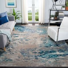 Dakota Fields Geometric Blue Area Rug | Wayfair Gold Watercolor, Transitional Rugs, Grey Rugs, Online Home Decor Stores, Online Shopping, Blue Grey, Gray, Blue Yellow, Color Blue