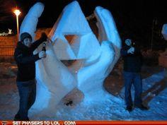 Triforce Snow Sculpture