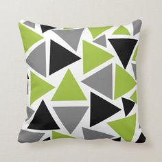 Random Triangles Lime Green Gray Black on White Accent Pillow White Throws, White Throw Pillows, Green Pillows, Soft Pillows, Accent Pillows, Decorative Throw Pillows, Floor Pillows, Green Home Decor, Lime Green Decor