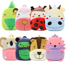 2018 Plush Children Backpacks Kindergarten Schoolbag 3D Cartoon Zoo Animal mochila  infantil Children School Bags for Girls Boys 4d97cf95d746e