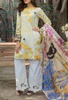 Buy Off-White/Lime Embroidered Cotton Lawn Dress by Rungrez 2016 Contact: 702-7513523 Email: info@pakrobe.com Skype: PakRobe