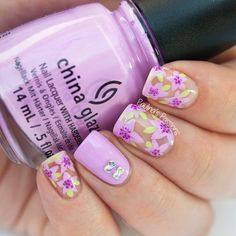 Violet Floral Nails by Paulina's Passions