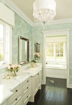 bathrooms - Restoration Hardware Venetian Beaded Mirror green patterned wallpaper white bathroom vanity cabinet calcutta marble countertops beaded beveled mirror crystal chandelier ebony wood floors