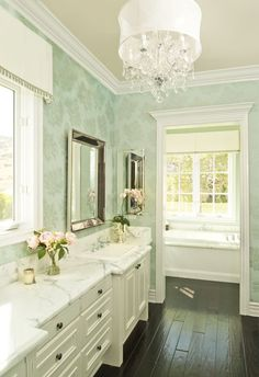 bathrooms - Restoration Hardware Venetian Beaded Mirror St. Lucia Wallpaper Metallic on Aqua green patterned wallpaper white bathroom vanity cabinet calcutta marble countertops beaded beveled mirror crystal chandelier ebony wood floors