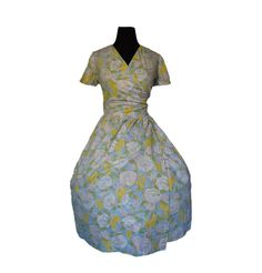 Vintage 1950s Wrap Dress - Floral Cotton Full Skirt Day House Dress Large. $65.00, via Etsy.