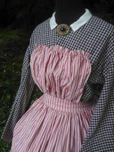 Reproduction Civil War Era Mid 19th Century Red and White Striped Cotton Pinner Apron
