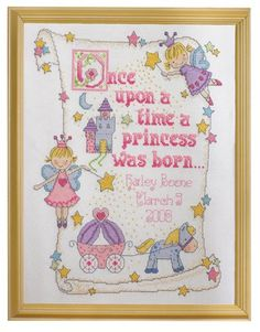 Bucilla Princess Birth Record 10-Inch-by-13-Inch Counted Cross Stitch Kit, 14-Count.