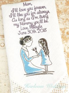 Mother of the Bride Handkerchief Monogrammed MOM from BRIDE heirloom handkerchief custom embroidered personalized hankie gift embroidery by HeirloomWeddings Mother Of The Groom Presents, Mother In Law Gifts, Father Of The Bride, Disney Cruise Wedding, Disney Bride, Fairytale Weddings, Cinderella Wedding, Fall Wedding, August Wedding