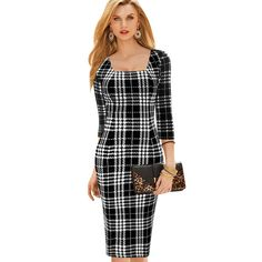 Cheap dresses embroidered, Buy Quality dresses girl directly from China dress care Suppliers: Womens Business Casual Work Party Bodycon Pencil Dress Square Collar Three Quarter Sleeve Elegant Vintage Plaid Dress Beautiful Black Dresses, Elegant Dresses, Work Dresses For Women, Clothes For Women, Fashion Wear, Fashion Outfits, Business Dresses, Plaid Dress, Pencil Dress