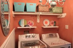 I kind of like the idea of making the laundry room a place with bright color and cheer. (No pun intended.) || From remodelaholic.com