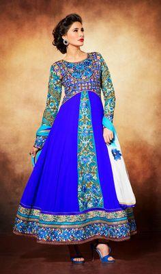 Nargis Fakhri Blue Shade Embroidered Georgette Long Anarkali Suit Price: Usa Dollar $131, British UK Pound £77, Euro97, Canada CA$142 , Indian Rs7074.