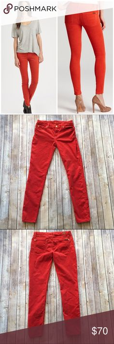 """7 for all Mankind The Skinny Corduroy Gorgeous Corduroy jeans perfect for fall and winter!! Waist measures approx. 14.25"""" across, front rise approx. 8.25"""", and inseam approx. 30"""". Excellent pre-loved condition with no visible signs of wear. LP70  🚫no trades 🚫no modeling ✅dog friendly/🚭smoke free home ✅reasonable offers ✅bundle & save! 7 For All Mankind Jeans Skinny"""