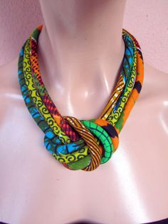 Fabric bib necklace african wax print with a central by nad205, $30.00