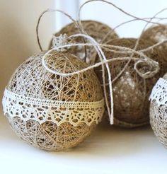 15 ideas for diy christmas ball ornaments ribbons Diy Christmas Ornaments, Christmas Balls, Homemade Christmas, Rustic Christmas, Christmas Holidays, Diy Lace Ornaments, Ball Ornaments, Decoracion Navidad Diy, Handmade Christmas Decorations