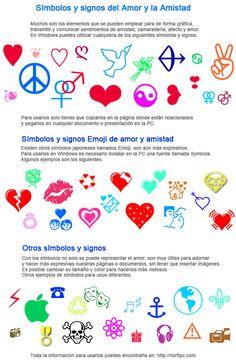 Símbolos y signos del Amor y la Amistad. Varios ejemplos de los #símbolos y #signos que pueden utilizarse en Windows para representar de forma gráfica, transmitir y comunicar sentimientos de amistad, camaradería, afecto y amor. También los símbolos #Emoji y otros para usos diferentes.