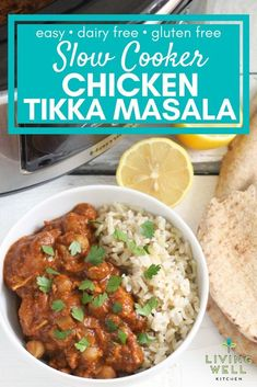 Slow Cooker Chicken Tikka Masala is a healthy, budget friendly meal full of warming spices in a tasty sauce. Post includes step by step instructions with the option for how to make in the Instant Pot. This crockpot dinner recipe is gluten free, dairy free Crockpot Dairy Free, Chicken Recipes Dairy Free, Healthy Slow Cooker, Slow Cooker Recipes, Crockpot Recipes, Whole30 Recipes, Soup Recipes, Diet Recipes, Cooking Recipes