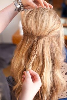 6. Another more advanced option is to pull the two pieces back and finish the look with a sweet fish-tail braid. (Find out how to do a fish-tail braid here!) Photo: Kurt Manley