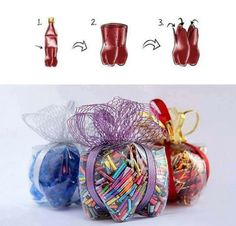 Repurposed plastic bottle-great idea for container for giving holiday goodies or secret Santa treats.