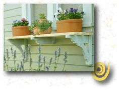 Exterior Window Shelves add Architectural Detail plus a space for some cool containers with seasonal flowers or how about herbs? Window Shelves, Plant Shelves, Window Box Flowers, Flower Boxes, Outdoor Shelves, Window Planter Boxes, Outdoor Living, Outdoor Decor, Garden Structures