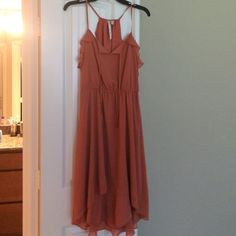 Lauren Conrad Orange Flowy Hi-Lo Dress w/ Ruffles Fun & comfortable! I wore this with a yellow or brown belt around the waist. :) LC Lauren Conrad Dresses