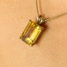 """You are viewing a gorgeous gemstone piece. This pendant and necklace are crafted from 14K Yellow Gold, weighs 5.9 grams and hallmarked """"14K"""" on the b...  #chain #citrine #emeraldcut #gold #pendant #yellow"""