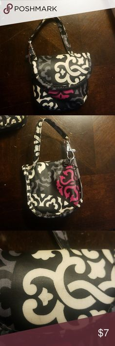 Vera Bradley Canterberry Magenta Pacifier Pod Clips to your diaper bag and is a vinyl type material so its easy to clean. 1 small spot noted in 3rd pic otherwise looks new. Vera Bradley Bags Baby Bags