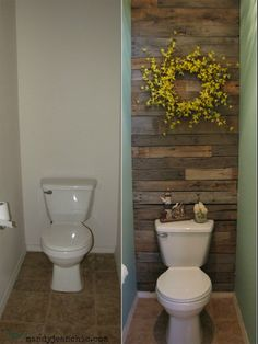 Decorate small bathroom with pallets before-and-after