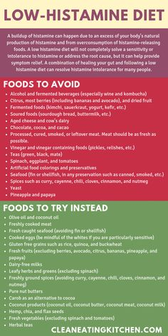 This post includes information about getting started on a low histamine diet to help manage troublesome symptoms and reduce histamine in the body histamine Diet And Nutrition, Health Diet, Nutrition Articles, Holistic Nutrition, High Histamine Foods, High Fodmap Foods, Foods To Avoid, Foods To Eat, Weight Loss Diet Plan