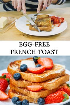 Is it possible to make egg free french toast? This recipe for eggless french toasts yields light, airy middles, and crispy sweet crusts this version tastes just like the classic french toast and it's allergy friendly! French Toast Without Eggs, Vegan French Toast, Recipe For French Toast, Dairy Free French Toast, Breakfast Ideas Without Eggs, Breakfast Recipes, Breakfast Ideas For Kids, Mexican Breakfast, Breakfast Sandwiches
