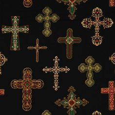 Michael Miller fabric beautiful crosses Divine Crosses  black fabric with many embellished crosses from the USA