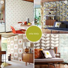 Orla Kiely wallpaper gives a fun, retro kick to any room! Go bold or just accent one wall. From the Ourhaus blog...