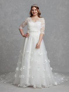 bfadb301458 A-Line Tea Length Flower Girl Dress - Tulle Sleeveless Jewel Neck ...