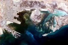 "Chris Hadfield   ""Tarout Bay, Saudi Arabia, looks powerfully unnatural and purposeful from orbit."""