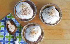 Frozen S'More Mini Pies - Chocolate ice cream, graham cracker crust and marshmallow creme -- yum!
