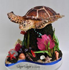 Sea Turtle Cake by Sandra Smiley Beautiful Cakes, Amazing Cakes, Realistic Cakes, Beach Themed Cakes, Chocolate Hazelnut Cake, Petal Dust, Sea Cakes, Animal Cakes, Summer Cakes