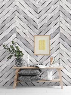 Chevron Grey White Wood Mural Wall Art Wallpaper - sheet pack - ft x ft sheets Our Chevron Grey Wood Mural Wallpaper is a stylish neutral with the textured look Bedroom Wallpaper Accent Wall, Accent Walls In Living Room, Wall Art Wallpaper, Mural Wall Art, Textured Wallpaper, Wallpaper Ideas, Gray Accent Walls, Fabric Wallpaper, Grey Wallpaper For Walls